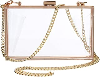 Modern Evening Bag Transparent Acrylic Clutch, Clear Evening Clutch Crossbody Bag, Shoulder Bag Purse Wallet for Women Party Wedding Prom (Clear)