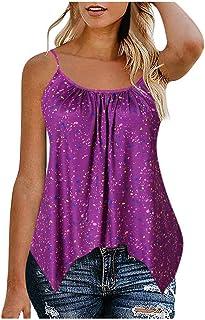 Allywit S-6XL Fashion Women's Casual Print Irregular Sleeveless Camisole Blouse Tunic Tank Tops Plus Size