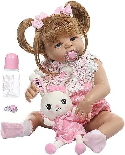 bulingLU-22 Zoll Nette Realistische Reborn Puppe Weiße Volle Silikon Vinyl Neugeborenen mädchen Lebensechte Handgemachte Spielzeug Für Kinder Geburtstagsgeschenk