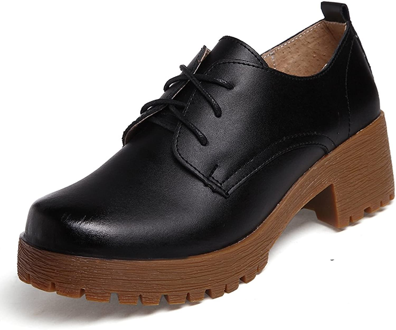 Lucksender Womens Lace Up Chunky Low Heel Pumps shoes