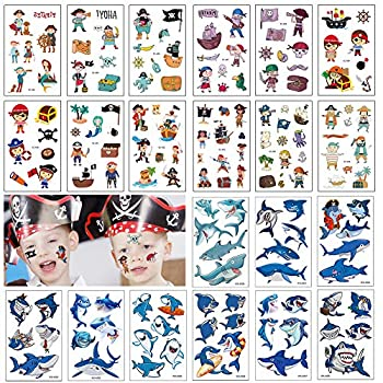 140+ PCS Kids Tattoos Pirates with Shark Themed Cute Cartoon Temporary Tattoos for Boys Girls Kids Birthday Party Bag Filler Party Favors