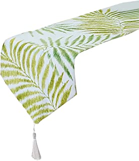 Tong Yue Chemin de table en linge de coton jacquard à motif de feuilles vertes - 32x 160cm, Tissu, 30x180cm