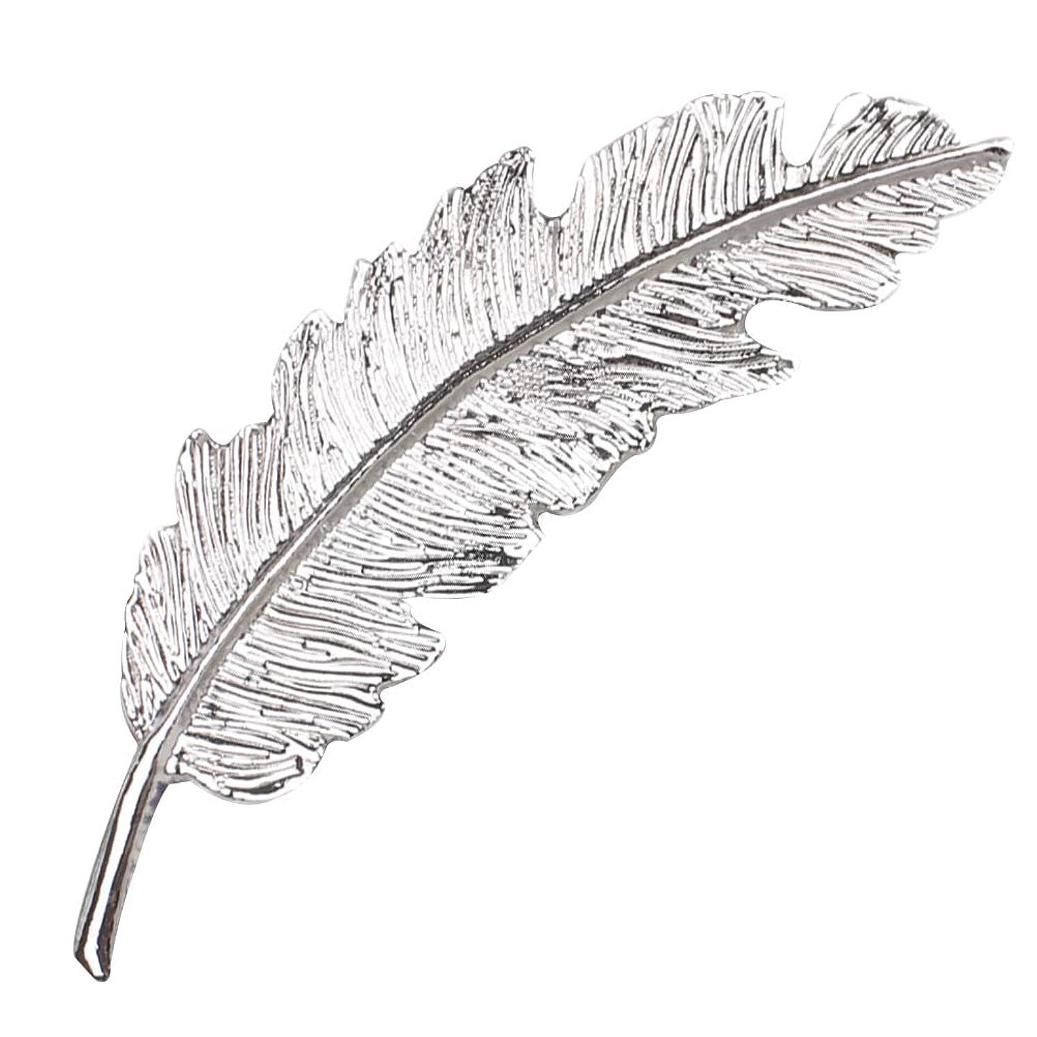 潮現実単独でLURROSE 葉羽スタイルヘアピンクリップピン女性女の子ヘアクリップ爪ブライダルヘアアクセサリー結婚式のため(銀)