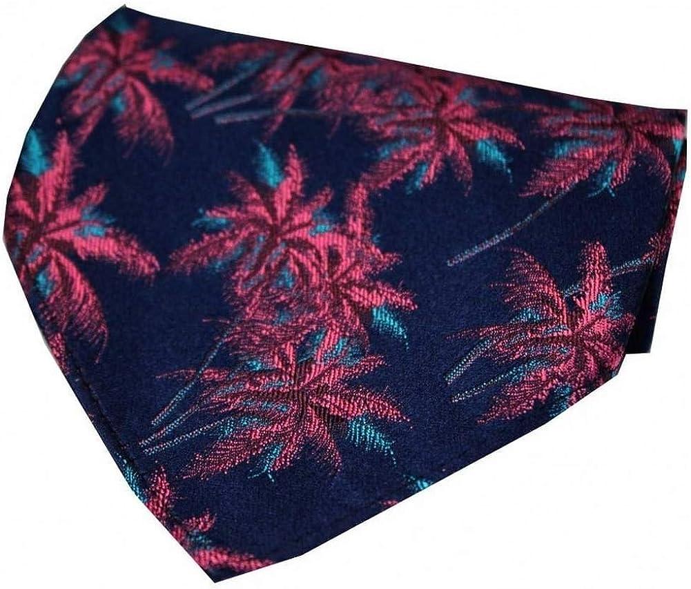 David Van Hagen Mens Palm Tree Silk Handkerchief - Navy/Fuchsia