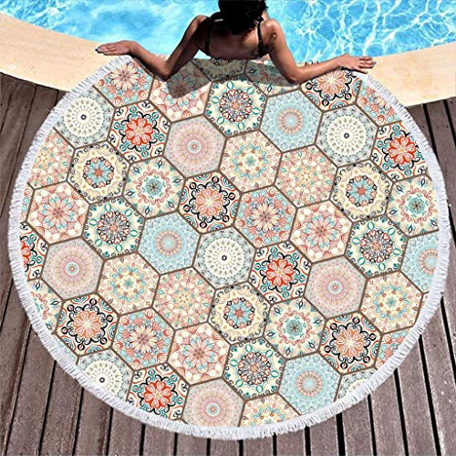RQPPY R& Quaste Strandtuch Beach Towel Geometrie Dekoratives Muster Reisehandtuch Strand Yogamatte Picknick Matte Frottee Chiffon Tagesdecke Pool Handtuch 150CM White 150cm