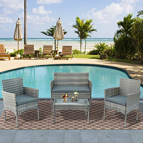 YOTH muebles de jardin,Conjunto de muebles de jardín para 4 personas, sofá y mesa, incluye cojín para el jardín, balcón y terraza (gris)