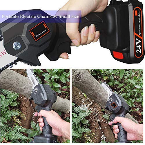Mini Chainsaw 4-Inch Cordless Electric Protable Chainsaw with Brushless Motor, One-Hand 0.7kg Lightweight, Pruning Shears Chainsaw for Tree Branch Wood Cutting (4inch, Black)