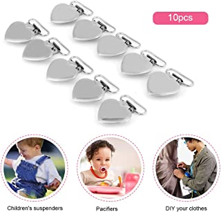 10Pcs Suspender Clips, 40 x 29mm/1.57 x 1.14inch Metal Heart Shape Insert Pacifier Holder Clips with Rectangle Inser for Soother, Paci, Pacifier, Dummy, Bib.
