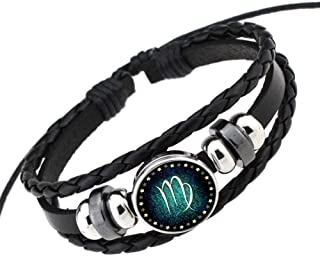Welcometoo Rosemes Retro 12 Constellation Beaded Hand Woven Leather Bracelet Punk Chain Cuff