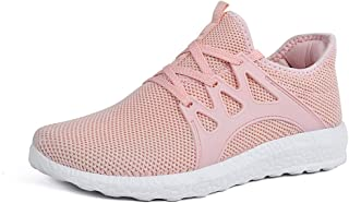Feetmat Womens Sneakers Ultra Lightweight Breathable Mesh Athletic Walking Running Shoes Pink Size: 9