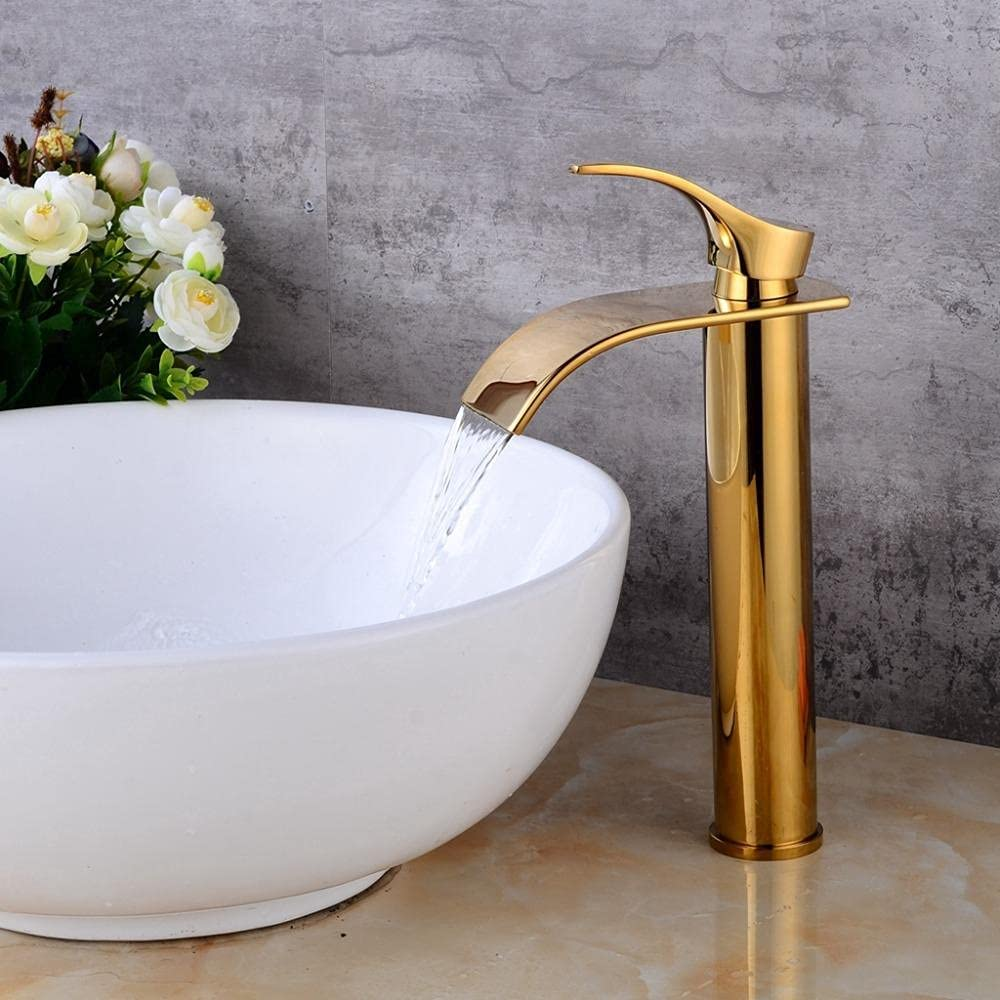 Golden tall faucet bathroom sink Memphis Mall Cheap mail order shopping counter above basin wate
