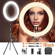 18 Inches Adjustable 2700-5500K Color Temperature Ring Light, SAMTIAN Dimmable SMD LED Ring Light Photography Video Lighting Kit with 78 Inches Light Stand, Phone Holder for YouTube, Portrait, Vlog