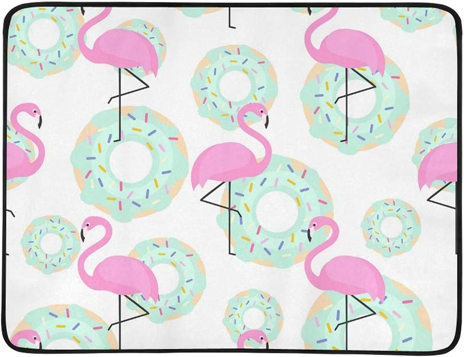 Pink Flamingos Donuts Trendy Portable and Foldable Blanket Mat 60x78 Inch Handy Mat for Camping Picnic Beach Indoor Outdoor Travel
