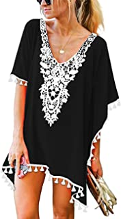 197a3ac459a CPOKRTWSO Women's Crochet Chiffon Tassel Swimsuit Beach Bikini Cover Ups for  Swimwear