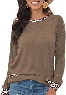 HOUJ Women's Round Neck Long Sleeve Leopard Print Loose Fit Fashion T-shirt
