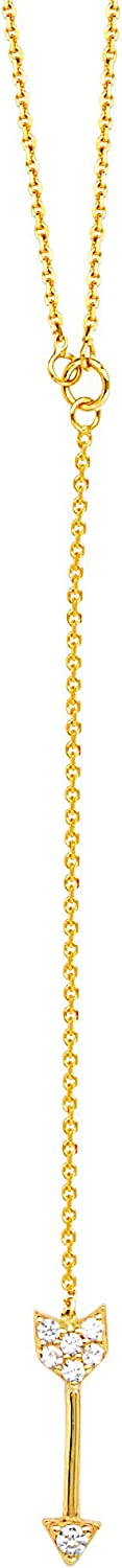 Y-style Lariat Arrow Necklace with Cubic Zirconia Adjustable Length 14k Yellow Gold