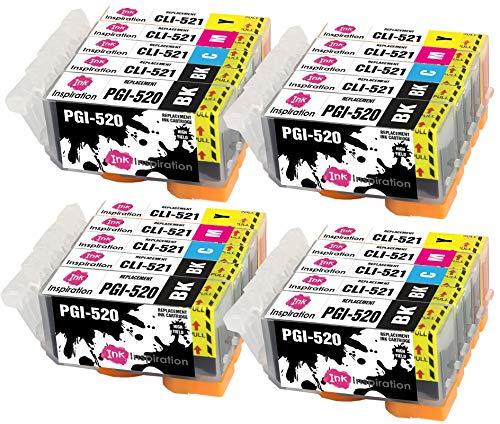 INK INSPIRATION® Ersatz für Canon PGI-520 CLI-521 Druckerpatronen 20er-Pack, kompatibel mit Canon Pixma MP560 MP640 MP630 MP620 iP4600 iP4700 iP3600 MP540 MP990 MP980 MP550 MX870 MX860