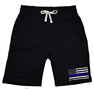 Men's Thin Blue Line Police Flag Black Fleece Jogger Sweatpant Gym Shorts