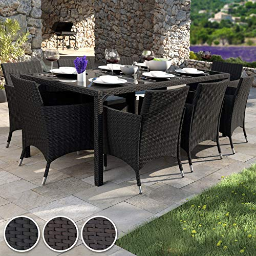 TecTake 8 Chairs + 1 Table Rattan Garden Furniture Set | Includes protection slipcover and stainless steel screws (Grey | no. 403222)