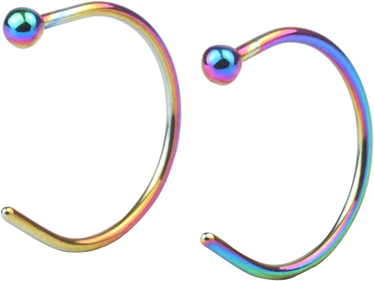 FORYOU FASHION Surgical Steel 20G 8mm Body Jewelry Piercing Earrings Nose Hoop Ring Unisex