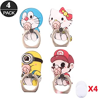 ZOEAST(TM) 4 Pack Phone Ring Grip Suckling Minion Super Mario Cat Universal 360° Adjustable Holder Desk Hook Stand Stent Mount Kickstand Compatible with iPhone X Plus Samsung iPad Tablet (4pcs Baby)
