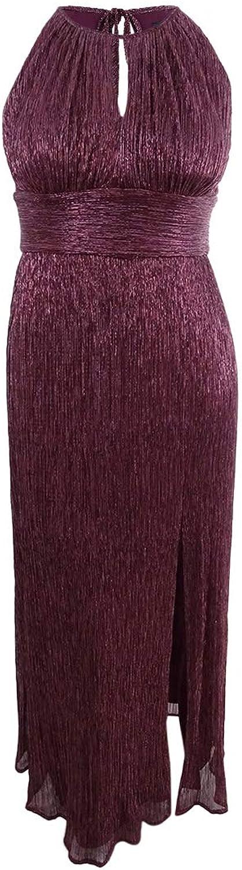 R&M Richards Womens Halter Metallic Formal Dress