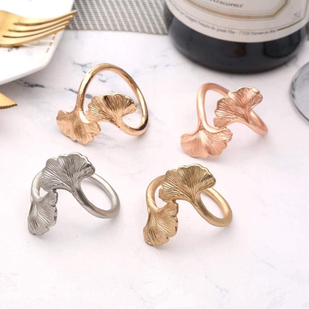 KOIYOI 10pcs 3D creative hollow leaf napkin buckle weddingel napkin ring tableware napkin ring set decoration,gold,gold