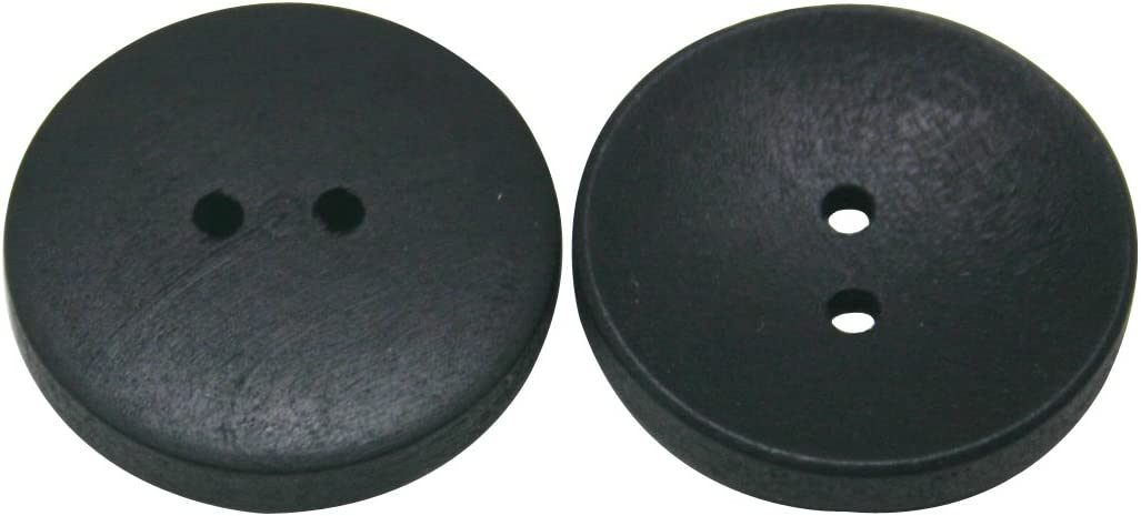 Wuuycoky Very popular Black Wood Button Round 25mm shopping 2 with Diameter for Holes