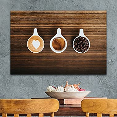 wall26 Canvas Wall Art - Cups of Coffee and Coffee Beans on Wooden Board - Giclee Print Gallery Wrap Modern Home Decor Ready to Hang - 24x36 inches