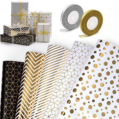 WolinTek Lot de 5 Papier Cadeau et 2 Rouleaux de Ruban, Papier d'emballage pour Anniversaire, Vacances, Mariage, Cadeau de Naissance (5 Désign, 70 x 50 cm)