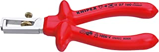 Knipex 11 07 160 Insulation Stripper Chrome Plated with Dipped Insulation, VDE-Tested, 160 mm