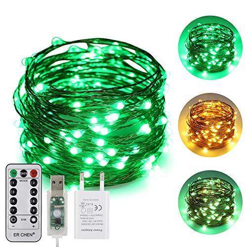 ErChen USB Strom-betrieben Zweifarbige Led Lichterketten, 33 FT 100 Leds Farbe ändern Dimmbar 8 Modi Kupfer Draht-Lichterketten mit Fernbedienung Timer für Innen Außen Christmas (Warmweiß, Grün)