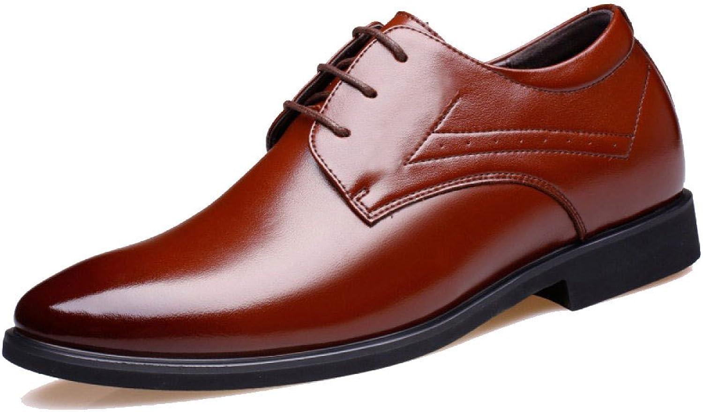 LEDLFIE Men's Leather shoes Fashion British Style Dress Business shoes Round Lace