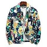 Ushpoy Men's Forest Camouflage Print Denim Jacket Loose Turn Down Collar Cargo Jean Coat Pockets Outerwear