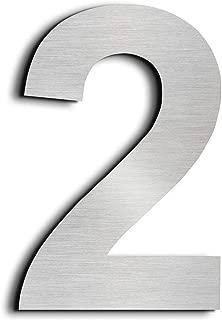 nanly Número de casa moderna-15.3Centímetros/6 pulgadas-Acero inoxidable, Apariencia flotante, Fácil de instalar y hecho de acero inoxidable sólido 304(Número 2)