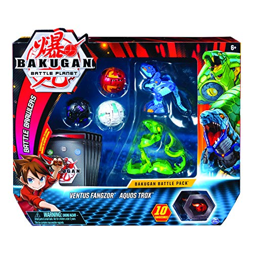 Bakugan 6055957 - Battle Pack mit 5 Bakugan (Ultra Ventus Fangzor, Ultra Aquos Trox, Basic Haos Dragonoid, Basic Darkus Nillious, Basic Pyrus Gorthion)