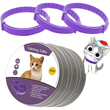leQuiven Cat Calming Collar, 3 Pack Calming Collar for Cats, Kitten Pheromone Anti-Anxiety Calm Collars, Adjustable Waterproof Collar Up to 15 Inches Fit for Small Medium Large Cats