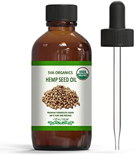 Organic Hemp Seed Oil - USDA Certified Natural Essential Oil, Cold Pressed, Unrefined, Therapeutic Grade by SVA Organics | for Hair, Skin Treatment, Acne| Traditional Oil (4 Ounce)