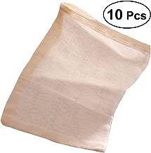 BESTONZON 10PCS 30 x 40cm Cotton Reuseable Drawstring Bags Strainer Filter Bag for Nut Milk Tea Fruit Juice