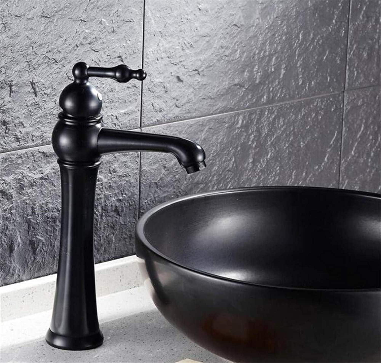 Bathroom Sink Basin Lever Mixer Tap Simple Basin Faucet with Long Handle Lifting On The Faucet Platform of Copper-European Type Black-Bronze Retro-Facing Basin