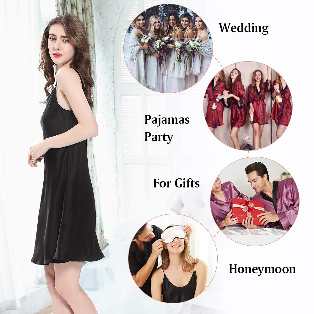 Real Silk Nightgowns for Women Charmeuse 100 Real 16 Momme Silk Short Sexy Chemise Ladies Lingerie Petite
