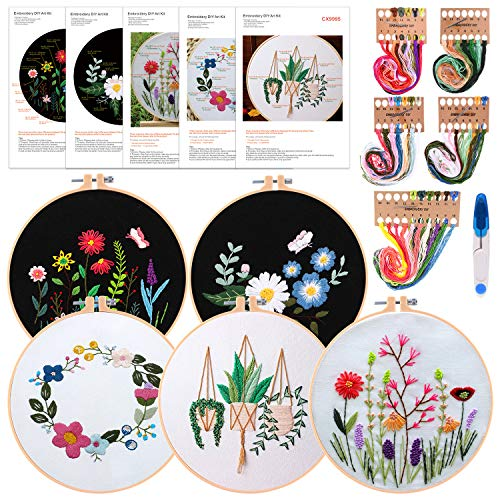 FEPITO 8 Pcs Embroidery Starter Kit Including 5 Pcs Embroidery Clothes, 2 Pcs Plastic Embroidery Hoops, Color Threads Needle Kit