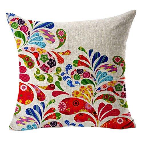 Sannysis fodere per cuscini federa vintage di cotone stampato floreale divano(rosa caldo)