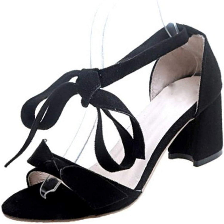 QianQianStore High Heel Sandals Lace Up Thick Heel Open Toe Bow-Not Women Summer shoes Sweet Fashion Footwear