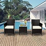 Pectt - Set di 3 sedie in vimini di rattan, con cuscini spessi e tavolino in vetro, per esterni, per giardino, cortile, portico