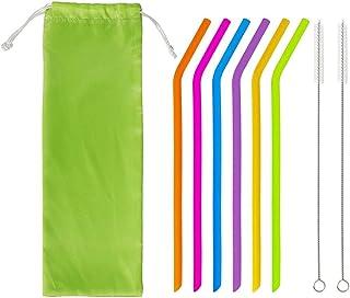 Pajitas de silicona Paja de beber colorida reutilizable Juego de pajitas ecológicas flexibles libres de BPA con 2 cepillos de limpieza y 1 bolsa de transporte Adecuado para jugo Leche Café 6 piezas