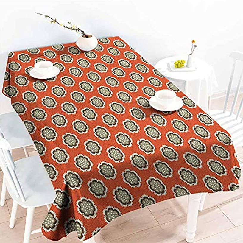 VIVIDX Resistant Table Cover,Geometric Floral with Warm Color Palette Flowers and Retro Dots Surreal Art,Resistant/Spill-Proof/Waterproof Table Cover,W60X102L, Vermilion Cream Sage Green