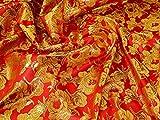 Gewebter Brokatstoff, metallisch, Rot, Gold, Meterware