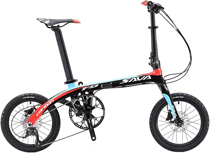 Sava Z2 16/'/' Carbon Fiber Frame Folding Bike Mini City 9 Speed Foldable Bicycle