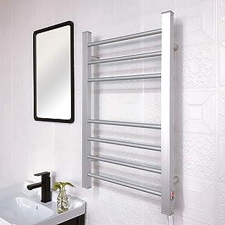 MIJOGO Toallero riel de Aluminio del radiador baño Escalera Enchufe de Montaje en Pared Prenda de Abrigo Bastidor radiador (Recto, 120W)